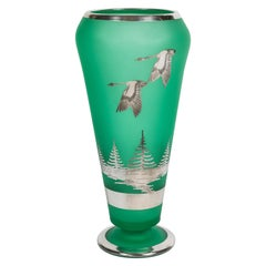 Art Deco Tiffin Green Satin Glass Vase with Rockwell Silver Overlay