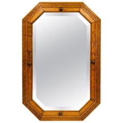 Art Deco Tiger Oak Frame with Greek Key Design Beveled Octagon Mirror