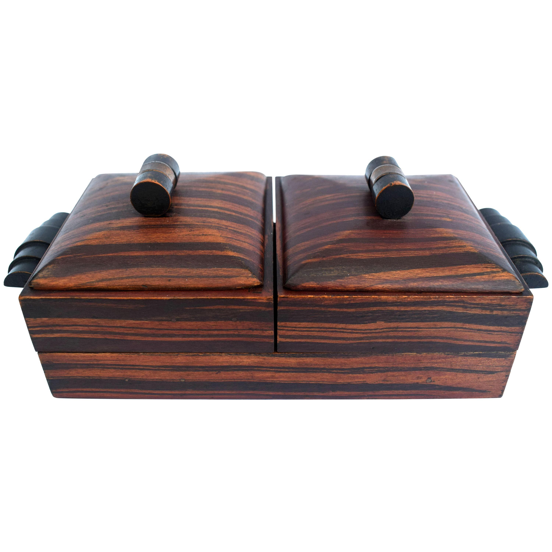 Art Deco Tiger Wood French Cigar Box, circa 1930s