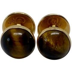 "Art Deco Tiger's Eye ""Spool"" Cufflinks in 14 Karat Yellow Gold by Krementz"