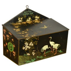 Art Deco Tin with Crane Birds and Flowers, 1930s, The Netherlands
