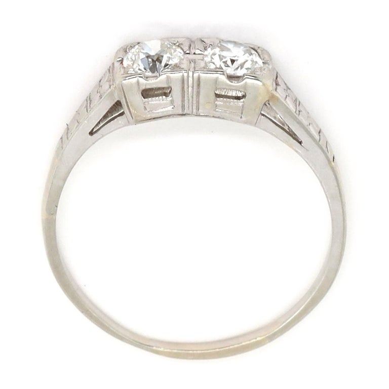 Women's Art Deco Toi et Moi Old European Cut Diamond Platinum Ring For Sale