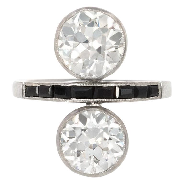 "Art Deco ""Toi et Moi"" Old European Cut Diamond Ring with Onyx Accents"