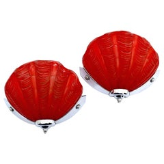 Art Deco Tomato Red Pair of Matching Shell Wall Light Sconces, 1930s