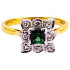 Art Deco Tourmaline and Diamond 18 Carat Gold Cluster Ring