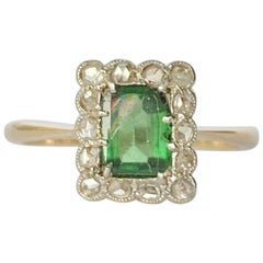 Art Deco Tourmaline and Diamond 18 Carat Gold Cluster Ring