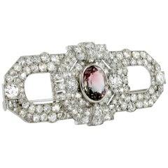 Art Deco Tourmaline and Diamond Platinum Brooch
