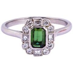 Art Deco Tourmaline and Diamond Platinum Ring