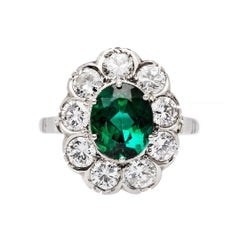 Art Deco Tourmaline Diamond Platinum Cluster Engagement Ring