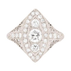 Art Deco Transitional Cut Diamond Cluster Ring, circa 1920s