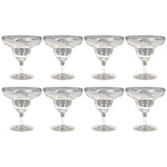 Art Deco Translucent Footed Glass Dessert Bowls with Frosted Foliate Detailing