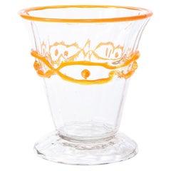 Art Deco Translucent Glass Vase w/ Tangerine Accents in Relief Signed Daum Nancy