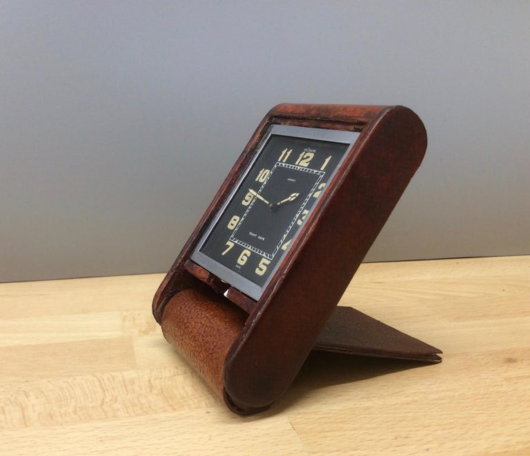 Early 20th Century Art Deco Travel clock by Le Coultre and signed Asprey For Sale