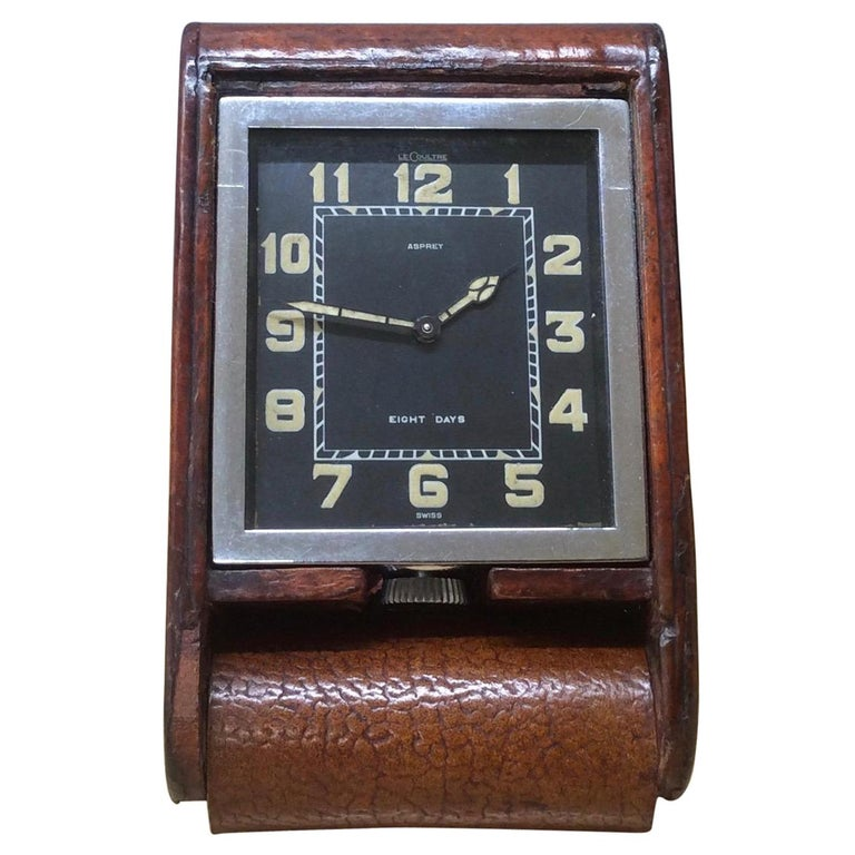 Art Deco Travel clock by Le Coultre and signed Asprey For Sale