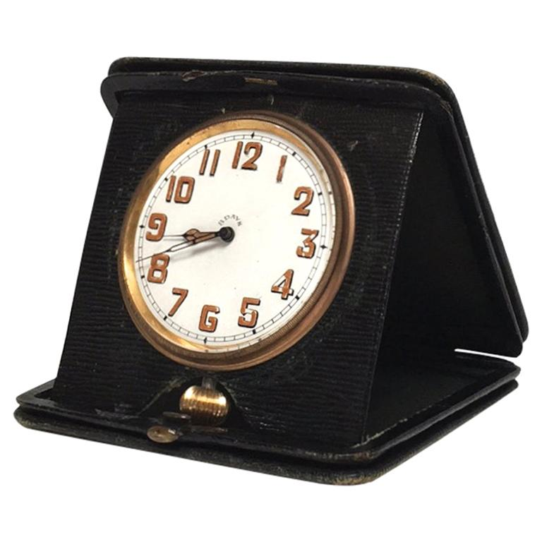 Art Deco Travel Clock in Green Leather from England