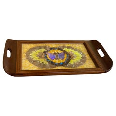 Art Deco Tray in Wood, with Butterfly Wings Pattern