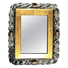 Art Deco Treccia Murano Glass Mirror in the Manner of Seguso Vetri D'Arte