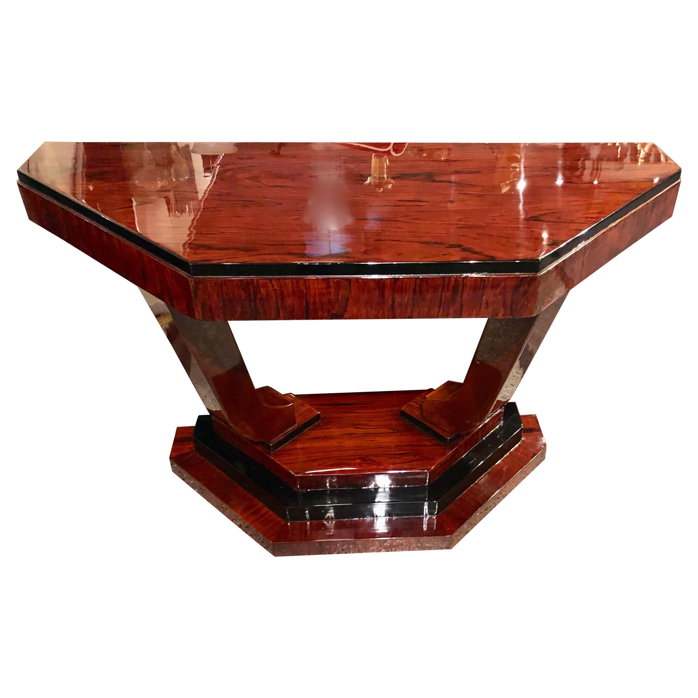 Art Deco Triangular Console with Ebony Accents