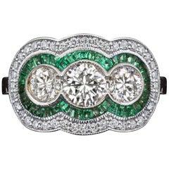 Art Deco Trilogy Diamond Emeralds 2 Carat Gold Ring
