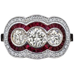 Art Deco Trilogy Diamond Natural Rubies 2 Carat Gold Ring