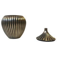 Art Deco Trinket, Lidded Vase in Brass, Denmark, 1930s