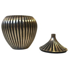 Art Deco Trinket, Lidded Vase in Brass, Denmark, 1930s