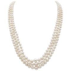 Art Deco Triple Strand Pearl Diamond Necklace, circa 1920