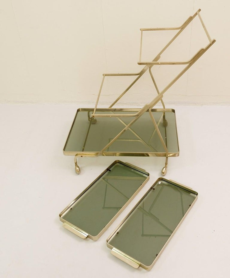 Brass Art Deco Trolley with Removable Tray For Sale