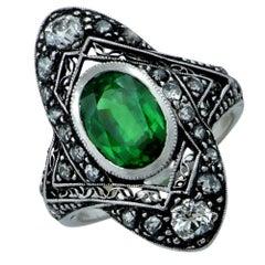 Art Deco Tsavorite Garnet and Old European Diamond Ring