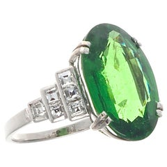 Art Deco Tsavorite Garnet Diamond Platinum Ring