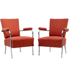 Art Deco Tubular Chrome Armchairs, 1930s