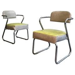 Art Deco Tubular Chrome Armchairs by KEM Weber
