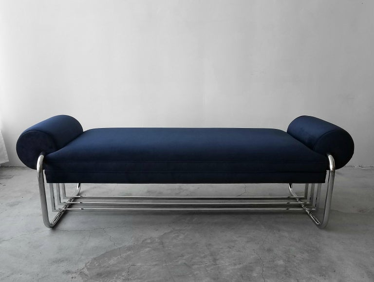 Beautiful Art Deco Machine Age streamline bench by Donald Deskey. Designed in 1934, this piece holds true to how timeless great design truly is. At 6ft in length, it is perfect almost anywhere, entry, foot of a bed or as additional seating in any