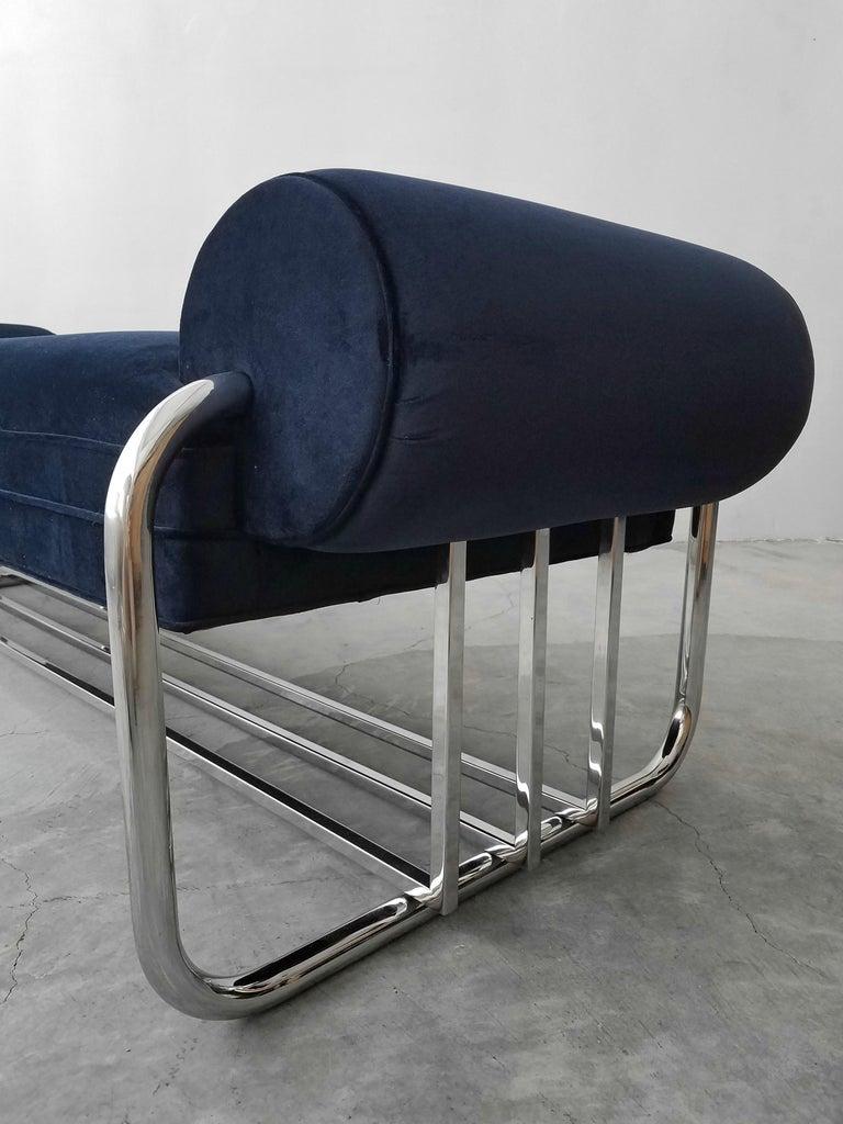 Velvet Art Deco Tubular Chrome Bench by Donald Deskey For Sale