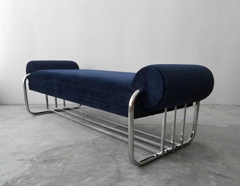 Art Deco Tubular Chrome Bench by Donald Deskey For Sale 2