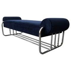 Art Deco Tubular Chrome Bench by Donald Deskey
