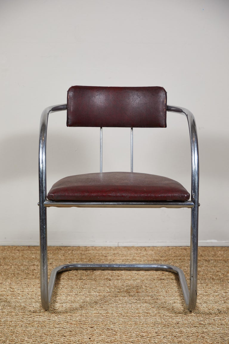 Art Deco Tubular Chrome Chairs Pair In Good Condition For Sale In Los Angeles, CA