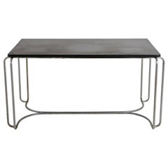 Art Deco Tubular Chrome Desk/Library Black Top Table Attrib to Wolfgang Hoffmann