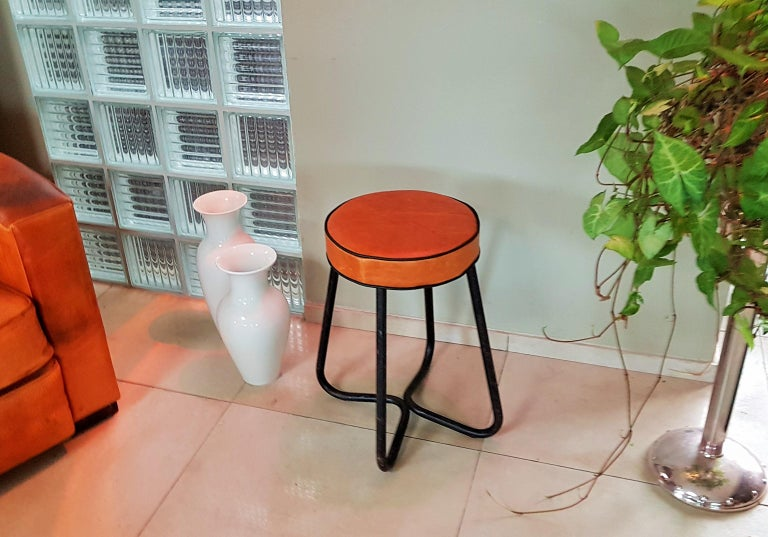 German Art Deco Tubular Marcel Breuer for Thonet Stool B77 Bauhaus, 1930 For Sale