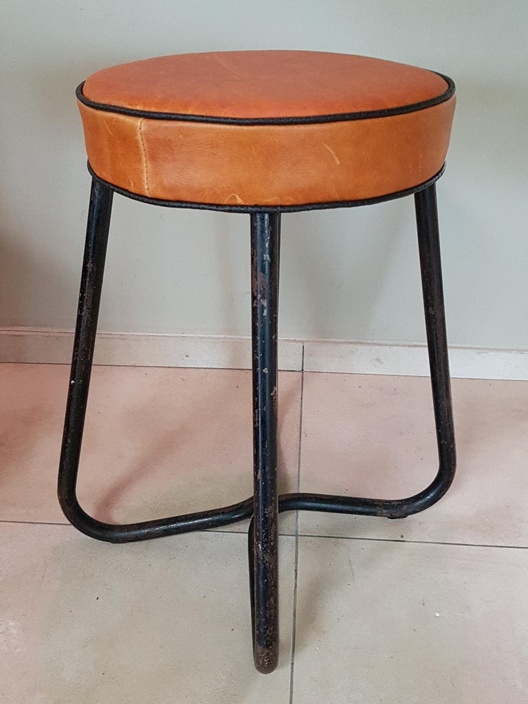 Leather Art Deco Tubular Marcel Breuer for Thonet Stool B77 Bauhaus, 1930 For Sale