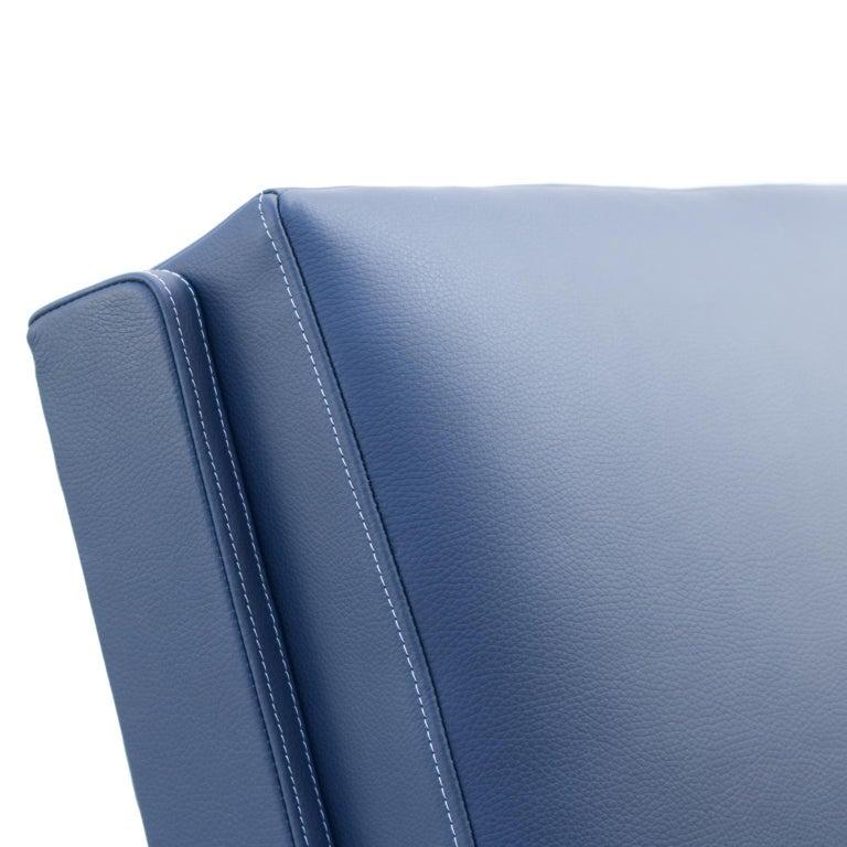 Leather Blue Art Deco Tubular Steel Cantilever Armchair Fn 24 by Mücke & Melder, 1930s For Sale