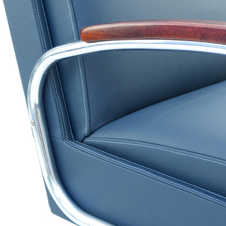 Blue Art Deco Tubular Steel Cantilever Armchair Fn 24 by Mücke & Melder, 1930s For Sale 1