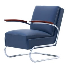 Blue Art Deco Tubular Steel Cantilever Armchair Fn 24 by Mücke & Melder, 1930s