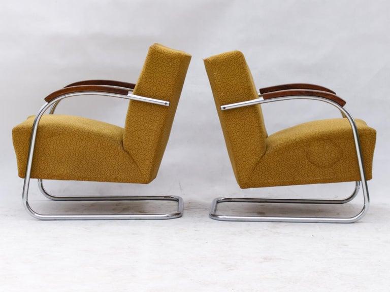 Czech Art Deco Tubular Steel Cantilever Armchairs Fn 21 by Mücke & Melder, circa 1930 For Sale