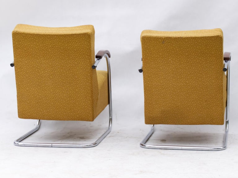 Art Deco Tubular Steel Cantilever Armchairs Fn 21 by Mücke & Melder, circa 1930 In Good Condition For Sale In Lucenec, SK