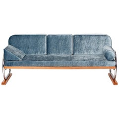 Art Deco Tubular Steel Couch Daybed from H. Gottwald, 1930s