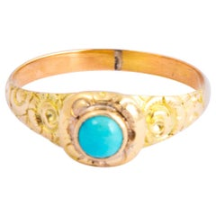 Art Deco Turquoise and 18 Carat Gold Ring