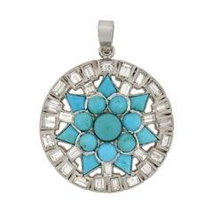 Art Deco Turquoise and 3.00 Total Carat Diamond Starburst Pendant