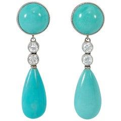 Art Deco Turquoise and Diamond Drop Earrings