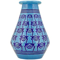 Art Deco Turquoise Blue Ceramic Vase Atelier Primavera Longwy, 1925